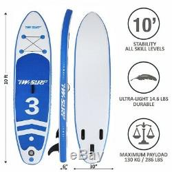 10' Inflatable Non-slip Stand Up Paddle Board Surfing SUP Boards withBackpack Kit
