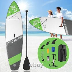 10' Inflatable Stand Up Paddle Board Surfboard SUP Adjustable Paddle Fin WithBag