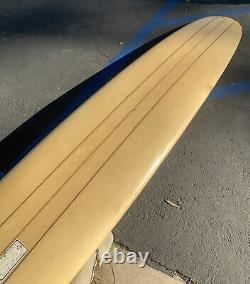 10ft vtg 1964 HOBIE 3 Stringer Surfboard RARE w 1967 Surfboard Permit Sticker