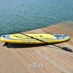 11' Inflatable Stand Up Paddle Board SUP with 3 Fins Adjustable Paddle Backpack