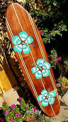 4ft. SURFBOARD WALL ART Hawaiian surf beach hibiscus decor longboard tiki sun
