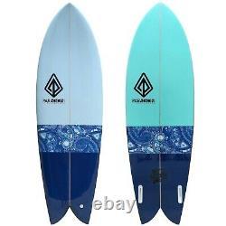 5'10 Retro Fish Surfboard Blue Inlay