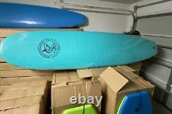 66 Surfboard Fishtail IXPE Soft Top Foam, Leash, 3 Fins, Color Light Blue