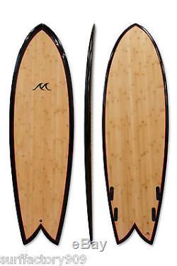 6'0 x 21 x 3 Retro Fish Bamboo Stringerless FCS Quad Shortboard Surfboard