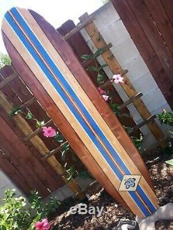 6ft. SURFBOARD WALL ART Hawaiian surf beach hibiscus decor longboard tiki sun