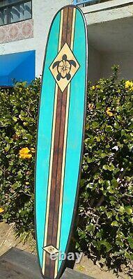 7FT Wood Surfboard Wall Art Turqouise Hawaiian Decor Surfing Turtle Hibiscus