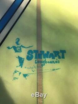 92 Stewart Longboard blue yellow thruster Surfboard In Great Condition