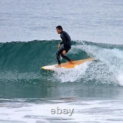 9'0 Epoxy Retro Noserider Surfboard Orange/White (P55)