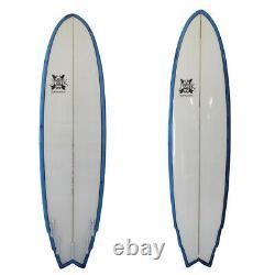 Big Boy Fish 7'3 x 22 x 3 Poly Surfboard by JK Surfboards 7ft Blue rail