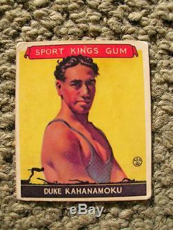 Duke Kahanamoku 1933 sport kings # 20 gum card surfing surfboard surfer surf