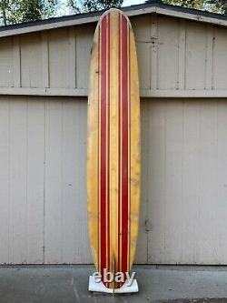 Early 1960's Gordie Surfboard with Wood Fin Vintage Longboard Huntington Beach