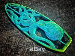Hand Carved original Mermaid Surfboard Art decor by Naples artist Jake Jones