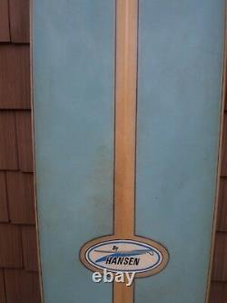 Hansen Surfboard By Hank Byzak 9' Vintage Triple Fin Blue Yellow Good Condition