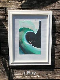 John Severson Original Watercolor Painting Big Wave Surfer at Waimea Bay Hawaii