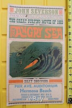 John Severson'The Angry Sea' 1963 Original Vintage Hermosa Surfing Film POSTER