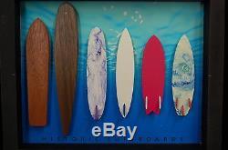 Mini Surfboard Evolution Art Shadow Box Wood Twin Fin Vintage to Modern Styles