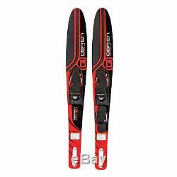 OBrien Vortex Combo 65.5 Inch Adult Mens Size 4.5-13 Wide Body Water Skis, Red