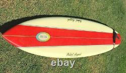 ROBERT AUGUST SURFBOARD 7'3 Round Tail Tri Fin Vintage 1980's