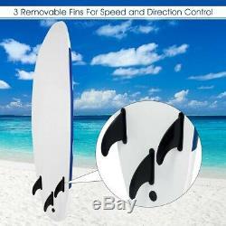 Surfboard Longboard Board Surfing Water Sport Foam with Removable Fin Gray Blue