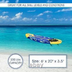 Surfboard Longboard Board Surfing Water Sport Foam with Removable Fins Yellow