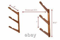 Surfboard Rack 3 Tier Adjustable Wall Mount Premium Bamboo Wood Storage Organize