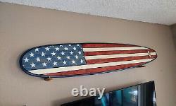 USA US American Flag 7FT Wood Surfboard Wall Art California Surfing Patriot