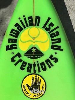 VINTAGE 6'1 Hawaiian Island Creations (HIC) Chuck Andrus Surfboard 80's color