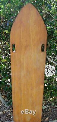 Vintage 1940s Solid Wood Paipo Board-Wooden Surfboard Bellyboard-No Fin withName