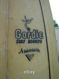Vintage 1968 GORDIE ASSASSIN V-BOTTOM SURFBOARD