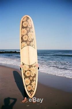 Vintage 1970s DEWEY WEBER WEBER FEATHER Longboard Surfboard Floral