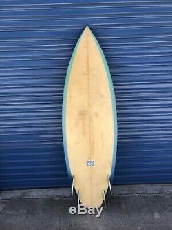 Vintage 1980s Rocking Fig Quad Fin Surfboard