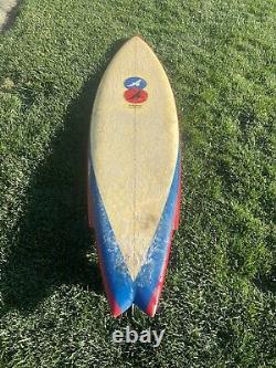 Vintage 64 Hawk surfboard single fin 1970s