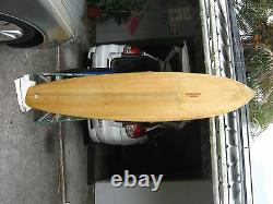 Vintage Custom Mike Diffenderfer Chambered Balsa Wood Surfboard 8'5