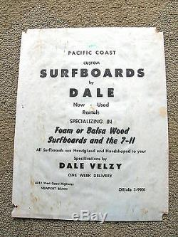 Vintage Dale Velzy pacific coast surfboards poster balsa wood surfing 1950s rare