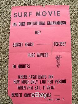 Vintage Duke Kahanamoku Surfer movie surf poster 1967 super rare surfboard old
