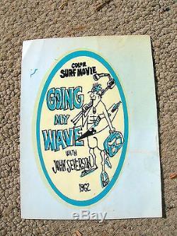 Vintage John Severson surfer magazine water slide decal surf movie surfboard