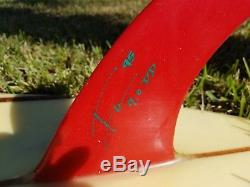 Vintage RED FIN #001 by Mike Hyson Surfboards made 1995 -Triple Stringer