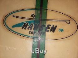 Vintage hansen cardiff 50 50 surfboard longboard