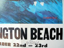 Vintage huntington beach surfing surfboard longboard poster 60s championships