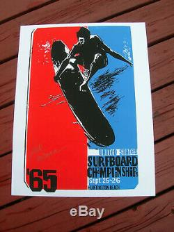 Vintage surf movie poster surfing surfboard 1965 earl newman signed huntington
