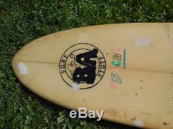 Vtg Surfing PSYCHO Surfboard Retro Neon Pink Green Blue Colors Long Board 8'7