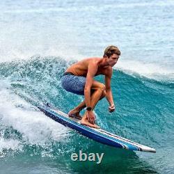 Wavestorm 8 ft Classic Surfboard Blue Stripes, Foam Summer Ocean Surf Surfing @@